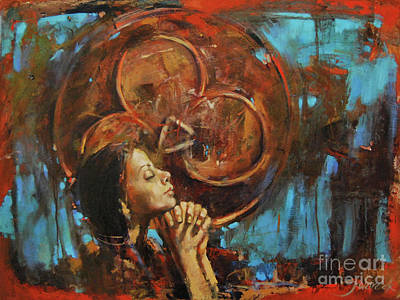 Faith Hope And Love Painting - Divine Prayer by Michal Kwarciak