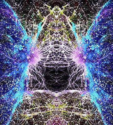Fireworks Mixed Media - Divine Radiance From A Satellite Galaxy #1452 by Rainbow Artist Orlando L aka Kevin Orlando Lau