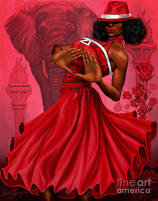 College Girls Wall Art - Digital Art - Divine Red And White by The Art of DionJa'Y