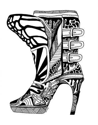 Drawing - Divine Stairway High Heel by Kenal Louis