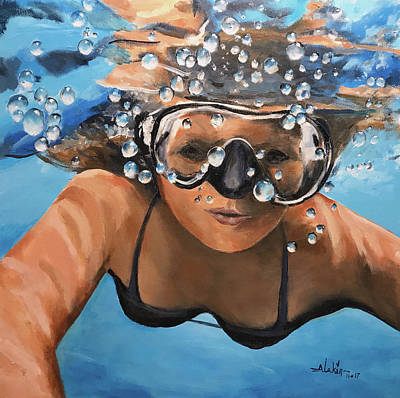 Painting - Diving by Alan Lakin