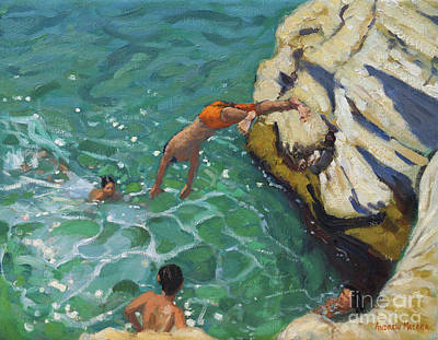 Skiathos Painting - Diving And Swimming, Skiathos by Andrew Macara