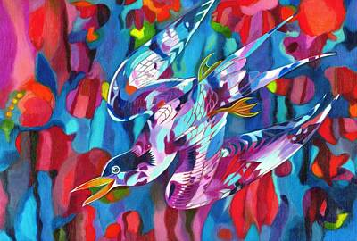 Birds Of A Feather Painting - Diving Bird by Jane Tattersfield