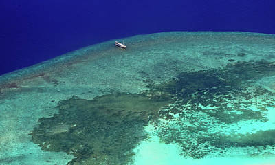 Photograph - Diving Boat At Coral Reef. Aerial Journey Around Maldives by Jenny Rainbow