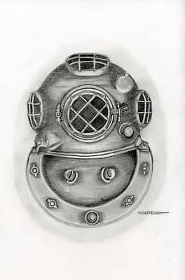 Steampunk Drawings - Diving Helmet by Larry Scarborough