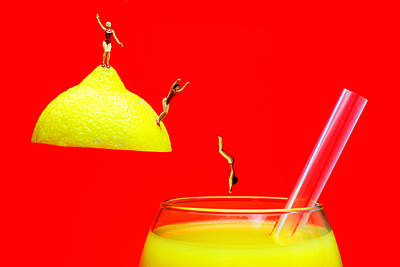 Miniature Photograph - Diving Into Orange Juice by Paul Ge