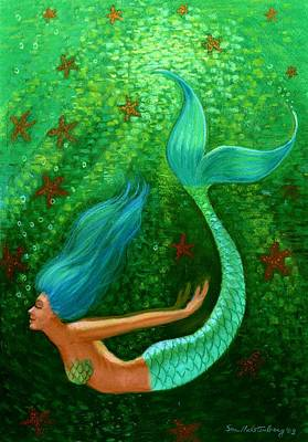 Painting - Diving Mermaid Fantasy Art by Sue Halstenberg