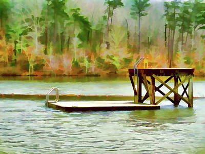 High Park Fire Painting - Diving Platform At Cheaha Lake by Lanjee Chee