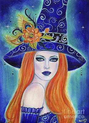 Self-taught Painting - Divinia Halloween Witch  by Renee Lavoie