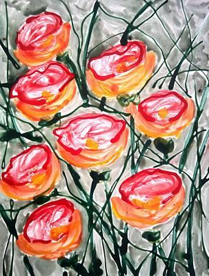 Divne Flowers Art Print by Baljit Chadha