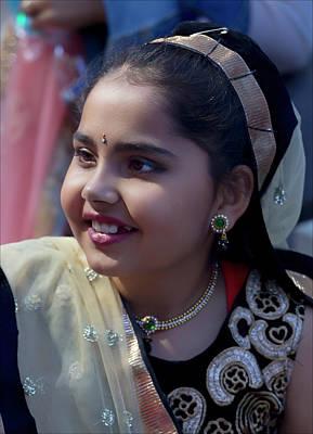 Diwali Photograph - Diwali Festival Nyc 2017 Girl In Taditional Dress by Robert Ullmann