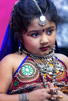 Diwali Photograph - Diwali Festival Nyc 2017 Girl In Traditional Dress by Robert Ullmann