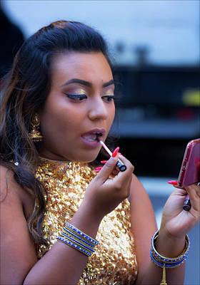 Diwali Photograph - Diwali Festival Nyc 2017 Indian Performer Doing Makeup by Robert Ullmann