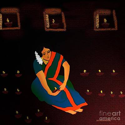 Digital Art - Diwali-the Night Of Diyas by Latha Gokuldas Panicker