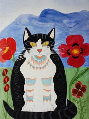 Painting - Diwali Tux Cat by Vera Smith