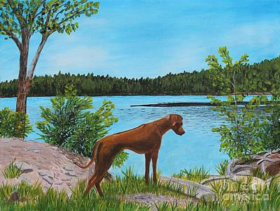 Painting - Dixie At The Lake - Rhodesian Ridgeback by Barbara Griffin