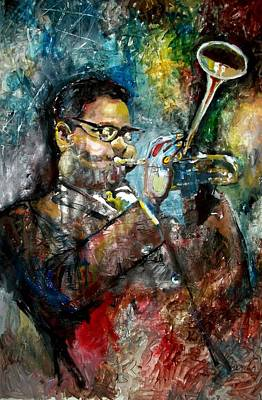 Trumpet Painting - Dizzy Gillespie  by Marcelo Neira