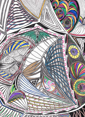 Abstract Shapes Drawing - Dizzy Spins by Laurie Gibson