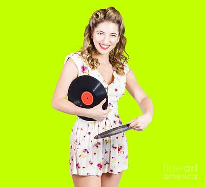 Photograph - Dj Disco Pin-up Girl Rocking Out To Retro Vinyl  by Jorgo Photography - Wall Art Gallery