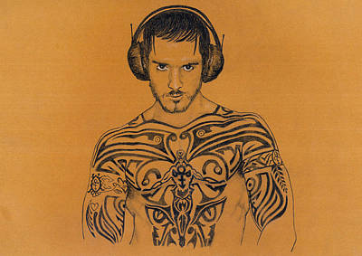 Bust Drawing - DJ by Mon Graffito