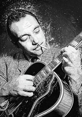 Digital Art - Django Reinhardt by Taylan Apukovska