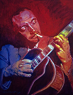 Jazz Painting Royalty Free Images - Django Sweet Lowdown Royalty-Free Image by David Lloyd Glover