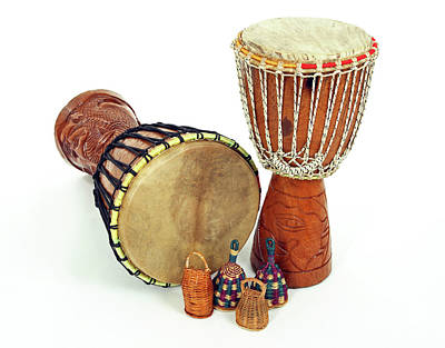 Musical Instruments Wall Art - Photograph - Djembe Drums And Caxixi Shakers by GoodMood Art