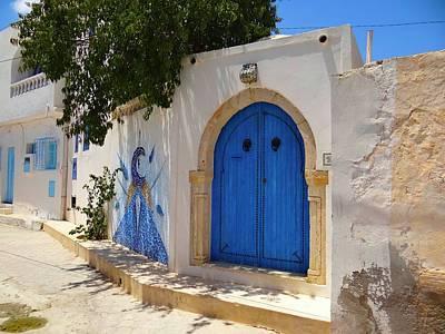 Exploramum Photograph - Djerba Street Art - Blue Gateway by Exploramum Exploramum
