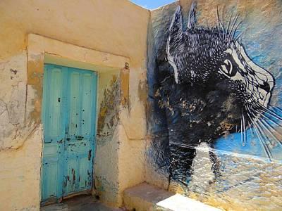 Exploramum Photograph - Djerba Street Art - Cat And Doorway by Exploramum Exploramum