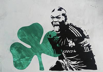 Stencil Painting - Djibril Cisse On Green by Vagelis Karathanasis