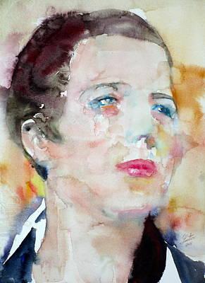 Painting - Djuna Barnes - Watercolor Portrait by Fabrizio Cassetta