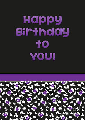 Digital Art - Dk Purple Leopard Birthday by JH Designs
