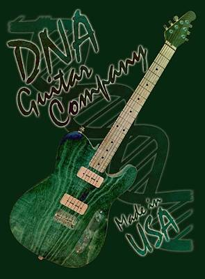 Digital Art - Dna Guitar Shirt 3 by WB Johnston
