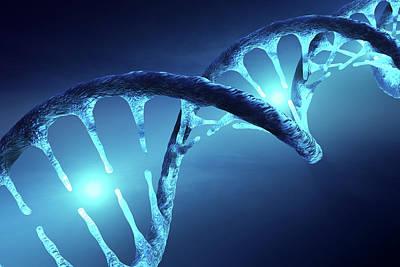 Digital Art - DNA structure illuminated by Johan Swanepoel