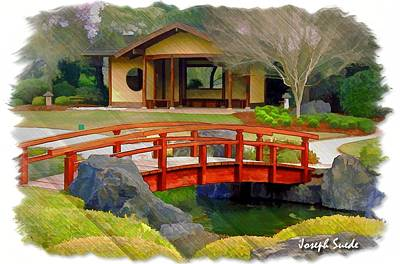 Do-00006 Cypress Bridge And Tea House Art Print by Digital Oil