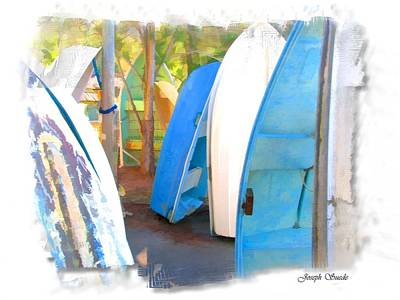 Photograph - Do-00145 Blue Standing Tender Boats by Digital Oil