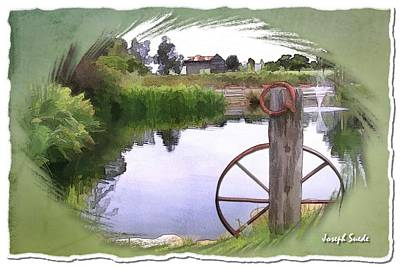 Photograph - Do-00151 Waterview And Old Wheel by Digital Oil