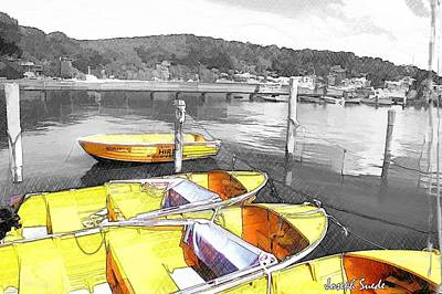 Do-00279 Yellow Boats Art Print by Digital Oil