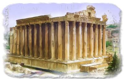 Do-00312 Temple Of Bacchus In Baalbeck Art Print by Digital Oil