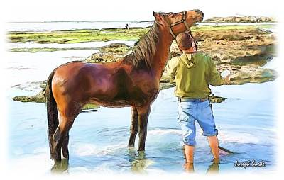 Do-00421 Washing Horse In Mina Art Print by Digital Oil