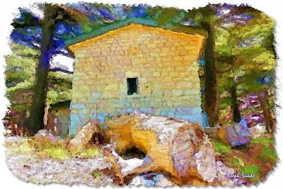 Do-00435 Building Surrounded By Cedars Art Print