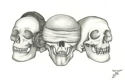 Stiched Drawing - Do Not Hear See Or Speak by Justin Altseimer