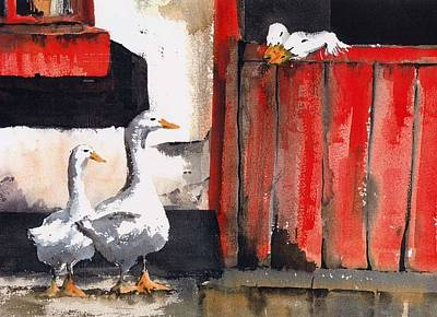 Geese Painting - Do You Have A Tv License by Val Byrne