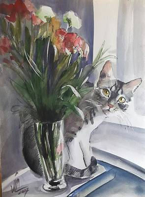 Painting - Do You See Me? Pet Portrait In Watercolor .modern Cat Art With Flowers  by Vali Irina Ciobanu