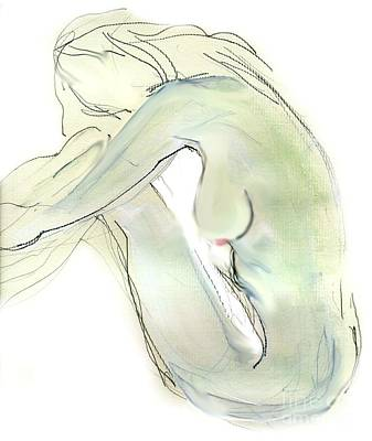 Drawing - Do You Think - Female Nude by Carolyn Weltman