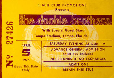 Photograph - Dobbie Brothers Ticket 1975 by David Lee Thompson