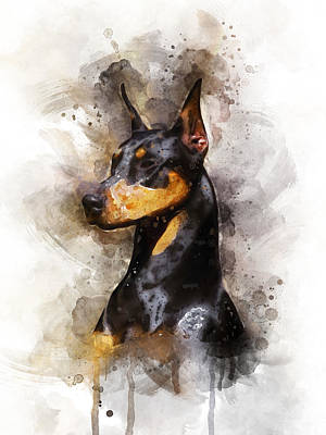 Doberman Pinscher Wall Art - Digital Art - Doberman by Aged Pixel