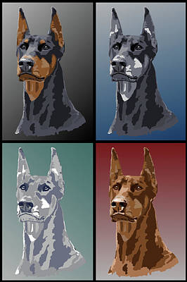 Doberman Colors Art Print