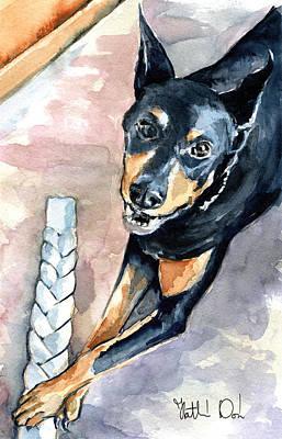 Painting - Doberman - Dog Portrait by Dora Hathazi Mendes
