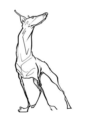 Drawing - Doberman Gesture Sketch by John LaFree